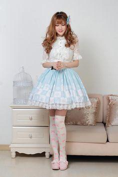 Customized Squares Prints and Lace Blue Knee-length Sweet Lolita Skirt Lolita Fashion  #Lovejoynet  #Lolita