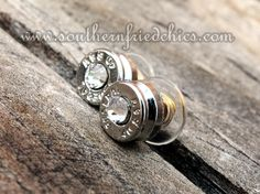 Silver Crystal Bullet Stud Earrings $29.99! Handcrafted earrings made from recycled bullet casings!! One-of-a-kind!!