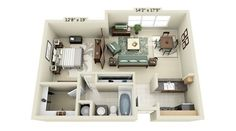 Plan mini one-bedroom apartment