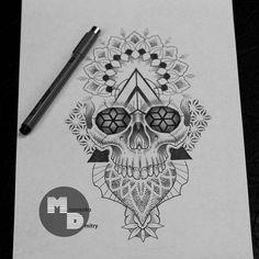 Свободный эскиз на предплечье... #tattoosketch #dotwork #skull #mandala #skulltattoo #drawing  #sketch #tattooart #ornament