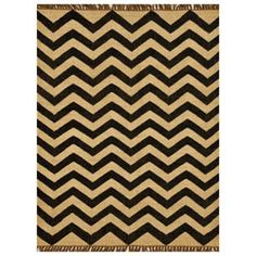 @Overstock - Hand-woven of wool and jute, this rug provides both resistance to wear and a natural, casual feel that is perfect for any room. This rug features a striking chevron stripe pattern in hues of beige jute and black wool.http://www.overstock.com/Home-Garden/Hand-wove-Kilim-Wool-Rug-8-x-11/5880498/product.html?CID=214117 $295.99
