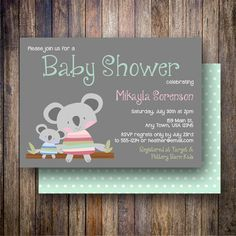 Cuddly Koala Baby Shower Invitation, Cuddly Koala Baby Shower Invite, Printable Baby Shower Invitation - Cuddly Koalas in Gray, Pink, Teal - Spotted Gum Design - Etsy