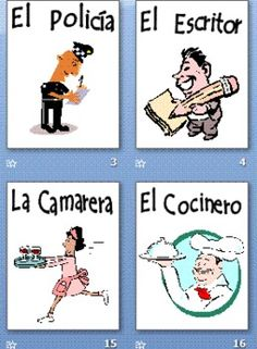 This item contains 58 colorful clip art slides with the Spanish profession vocabulary word.  Print for flashcards or a Spanish bulletin board / word wall.