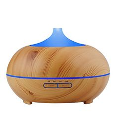Essential Oil Diffuser, TWOPAGES  300ml Wood Grain Cool Mist Ultrasonic Humidifier with 4 Timer Settings for Spa,Baby Room,Etc