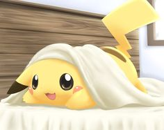 This is by far the cutest thing I have ever seen in my life!!!! (Pikachu in bed)