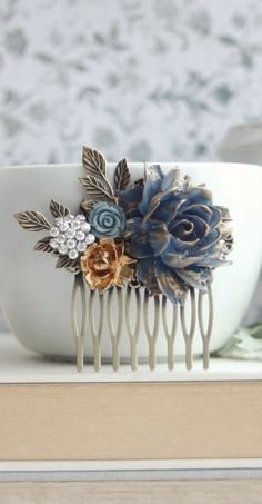 Blue Gold Tipped Rose Comb. Vintage Corn Dusky Blue Wedding, Rustic Blue Gold Wedding, Bridesmaid Gift. Something Blue, Vintage Gold Wedding by Marolsha - https://www.etsy.com/listing/232604260/blue-gold-tipped-rose-comb-vintage-corn?ref=shop_home_active_15