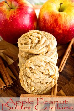Apple Peanut Butter Cookies ~ Delicious, Soft, Chewy Cookie Recipe Loaded with Peanut Butter, Cinnamon and Fresh Apples! ~ http://www.julieseatsandtreats.com