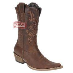 Bota Texana Feminina Castanho Bico Fino Com Rebites No Cano - West Country  15100  Mulheres 2815483adc6