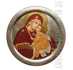 This Tenderness icon of the Mother of God is painted with acrylic paints on a wooden board 19 cm in diameter. Painted icons to order in the Catalog of St Elisabeth Convent Painting Workshop, Painting Studio, Painted Cups, Hand Painted, Church Icon, Paint Icon, Metal Workshop, Blessed Mother Mary, Byzantine Icons