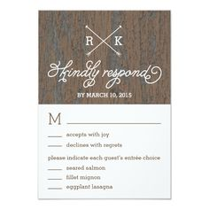 Rustic Bark Wedding Response / RSVP Cards