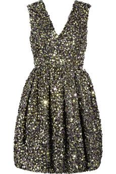 Folded-sequin silk-organza dress
