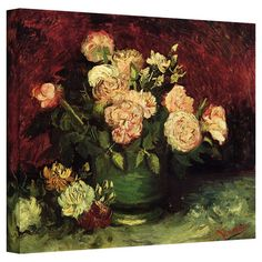 Adding artistic flair to your living room or foyer, this professionally-wrapped reproduction of Rose and Peonies by Vincent Van Gogh showcases a bouqu...
