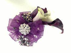 Purple prom corsage