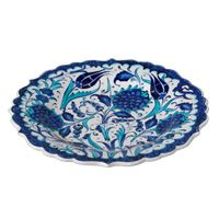 Blue and White Floral Motif Plate