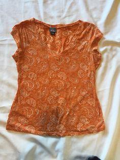 Dots Shirt Women's XL Orange Paisley Shirt Cotton/polyester Off Shoulder V-neck  #Dots #BasicTee