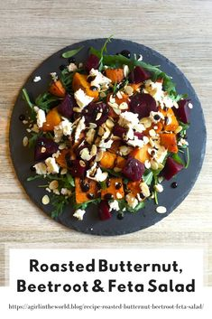 Roasted butternut, beetroot and feta salad is always a favourite side dish that people request time after time! Great as a vegetarian main meal too! Veg Salad Recipes, Salad Recipes For Dinner, Raw Food Recipes, Beetroot Recipes Salad, Beetroot And Feta Salad, Baked Beetroot, Vegetarian Main Meals, Healthy Meals, Best Salads Ever