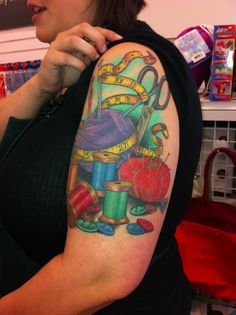 Crafty girl tattoo. I like the idea, not a fan of the placement. Arms just don't age well. Craft. Sew. Knit.