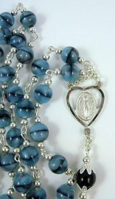 Blue Catholic Rosary Czech Druk Beads w Pearls by Serenitybysandra, $55.00