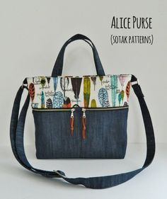 Sewing Bags Hello everyone, I am super, super, over the moon excited to introduce my newest pattern to you today. This is Alice . Patchwork Bags, Quilted Bag, Crazy Patchwork, Denim Purse, Tote Purse, Tote Bags, Diy Sac, Handbag Patterns, Diy Purse Patterns