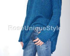 Oversized Chunky knit sweater. Slouchy/Bulky/ Loose knit sweater. Baby Alpaca/Merino wool sweater. Blue/green sweater.