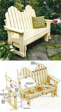 Adirondack Glider Bench Plans - Outdoor Furniture Plans and Projects | WoodArchivist.com #woodworkingbench