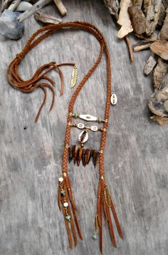 "Necklace ""NATIVE AMERICAN Breastplate Inspired"" Leather, Cowries shells, Mother of pearl tooth, Picasso beads, Coconuts beads, Bone beads"