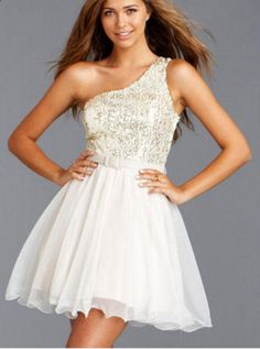 Dress for a dance white with gold on the top
