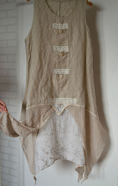 Upcycled clothing, linen summer dress, sleeveless dress, eco, lace, recycled…