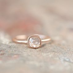 Rosé Gold Ring With Facetted Rock-Crystal, filigree gold ring, delicate ring, dainty, stackable, knuckle ring. friendship ring, bestseller