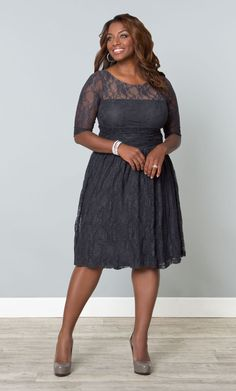 Grey is very chic for weddings and our plus size Twilight Grey Luna Lace Dress is perfect for your on-trend color palette.   www.kiyonna.com  #KiyonnaPlusYou  #Plussize  #MadeintheUSA  #Kiyonna  #BridalParty