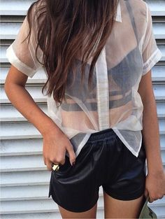 63 Ideas How To Wear Bralette Outfit Style Shirts Pastel Outfit, Short Outfits, Cute Outfits, Summer Outfits, Lingerie Look, Bra Lingerie, Short Blanc, Party Mode, Sheer Clothing
