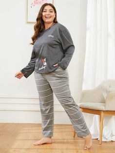 d118baeed5f Plus Letter Print Striped Pajama Set -SheIn(Sheinside) Striped Pyjamas