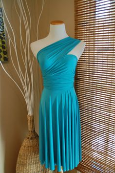 Ready To Ship Convertible Infinity Dress Tenacious Teal Small. $54.99, via Etsy.