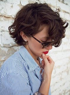 Wavy Short Brunette Hair. Hubby would be devastated but I love this!!