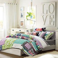 """""""LOVE"""" wooden wall decor concept (PBTeen Tropical Garden Patchwork Quilt)"""