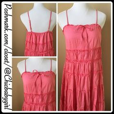 """CORAL GAUZE PEASANT DRESS Size--L (10-12) EUC $69 Retail + Tax  *Drawstring front-tie *Adjustable shoulder straps *Same fabric under slip *Side zipper  *Armpit to armpit front 19"""" *Center front to bottom hemline 37"""" *Elastic Back not stretched 13"""" stretched 19""""  *Back to bottom hemline 34"""" *100% Cotton *Hand wash    2+ BUNDLE=SAVE  ‼️NO TRADES--NO HOLDS--NO MODELING  ✈️ Ship Same Day--Next Day Purchase By 2PM PST   USE BLUE OFFER BUTTON TO NEGOTIATE   ✔️ Ask Questions Not Answered In…"""