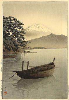 Mt. Fuji Seen from Nagahama by Hasui (1937).