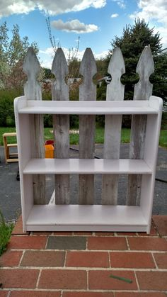 Easy Picket Fence Accent Shelves - and Afters Wallpaper Shelves, Wall Wallpaper, Environmental Pollution, Cottage Furniture, Backyard Fences, Wood Trim, Living Room Grey, Home Accents, Old Things