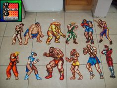 Street Fighter 2 Bead pixel character selection by ABeadsCStart Perler Bead Art, Perler Beads, Blanka Street Fighter, Super Street Fighter 2, Pearl Beads Pattern, Pixel Characters, Minecraft Pixel Art, Fuse Beads, Projects For Kids
