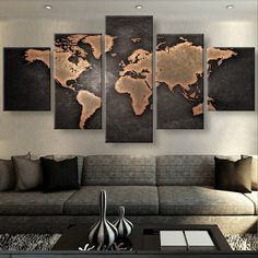 Rustic World Map 5 Piece Canvas Set