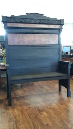 1800's Eastlake Head and Footboard turned bench. Finished in Licorice with Sheer VAX.  #ShabbyPaints #PiecesoftimeFF