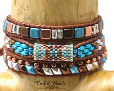 Southwestern Beaded Leather Wrap Bracelet-Boho Leather Wrap-Silver, Turquoise, Dark Copper, and Bright Copper Leather by CinfulBeadCreations on Etsy Leather Jewelry, Beaded Jewelry, Beaded Bracelets, Wrap Bracelets, Diy Jewelry, Beaded Leather Wraps, Leather Cord, Bohemian Bracelets, Semi Precious Beads