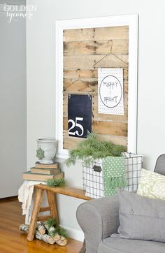 like the framed wood planks to mount other pictures, art or fun decor on
