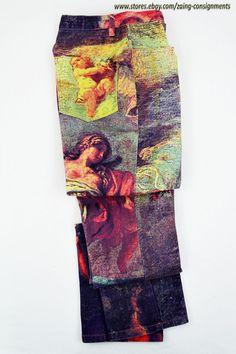 80's Retro High Waist DOMALLO Denim Pants size 6 angel cherub painting #Domallo #CasualPants
