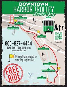 Ventura Downtown Harbor Trolley Route Map - Free Ride