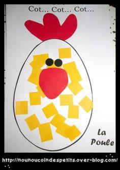.. Cot Cot Cot La poule !! collage Pâques ..
