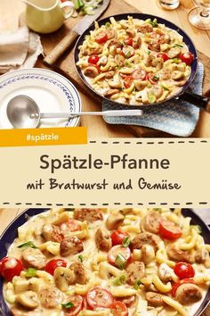 Inspire your family with the Bratwurst-Spätzle pan – with fresh mushrooms, spring onions and tomatoes. Inspire your family with the Bratwurst-Spätzle pan – with fresh mushrooms, spring onions and tomatoes. Spatzle, Hamburger Meat Recipes, Crockpot Recipes, Crockpot Meat, Hamburger Casserole, Stuffed Mushrooms, Stuffed Peppers, Evening Meals, Family Meals