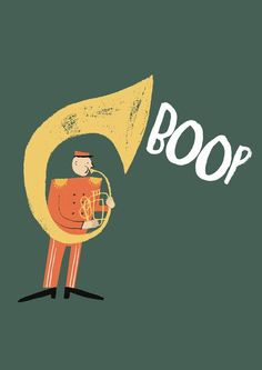 Rob Hodgson via Petits petits tresors (for my sousaphone-playing son! Music Illustration, Character Illustration, Graphic Design Illustration, Pretty Pictures, Zine, Illustrations Posters, Retro, Drawings, Prints