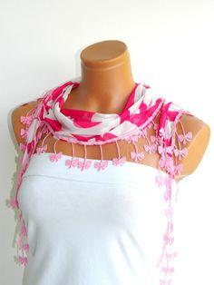 Fuchsia, White flower Scarf. Turkish Chiffon Fabric Fringed Guipure Scarf ..bandana,headband,wedding,bridal,authentic, romantic, elegant,