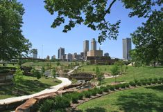 Centennial park with a view of downtown Tulsa